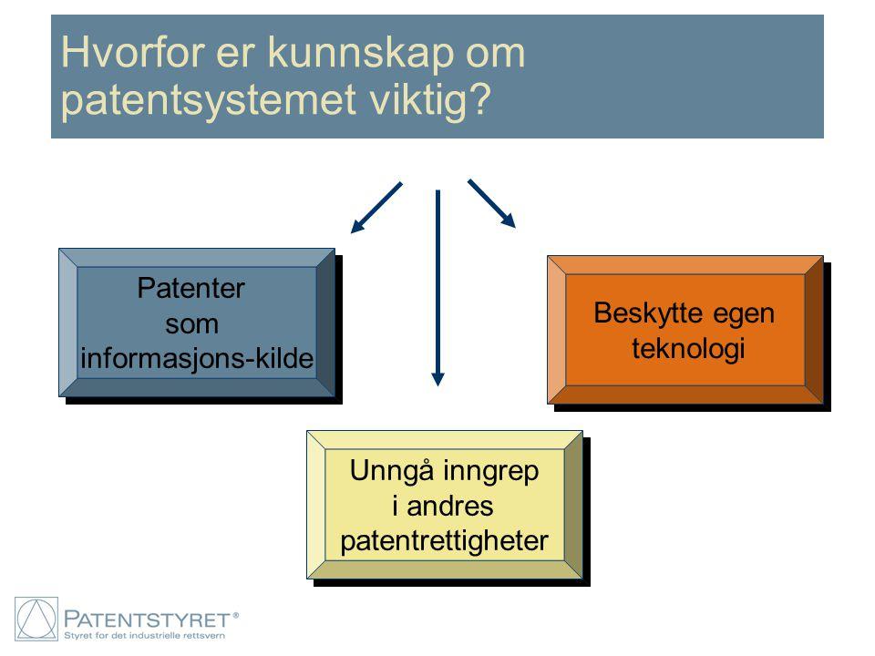 Hvorfor er kunnskap om patentsystemet viktig? Patenter som informasjons-kilde Patenter som informasjons-kilde Beskytte egen teknologi Beskytte egen te