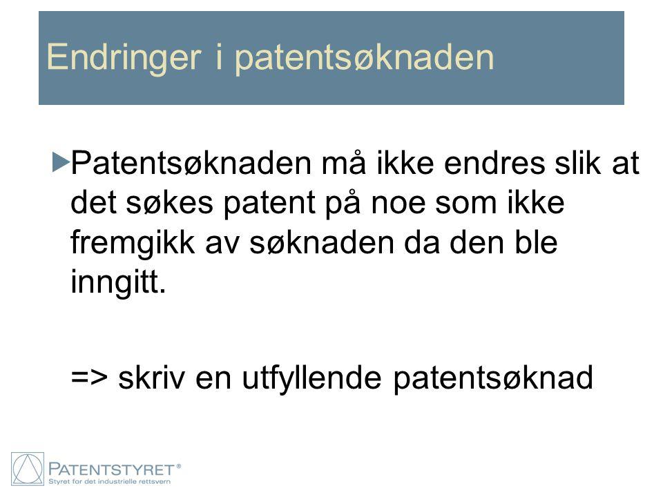 Endringer i patentsøknaden  Patentsøknaden må ikke endres slik at det søkes patent på noe som ikke fremgikk av søknaden da den ble inngitt. => skriv