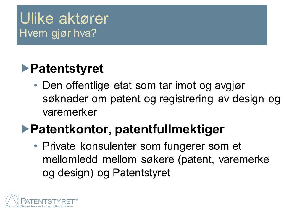 Ulike aktører Hvem gjør hva?  Patentstyret Den offentlige etat som tar imot og avgjør søknader om patent og registrering av design og varemerker  Pa