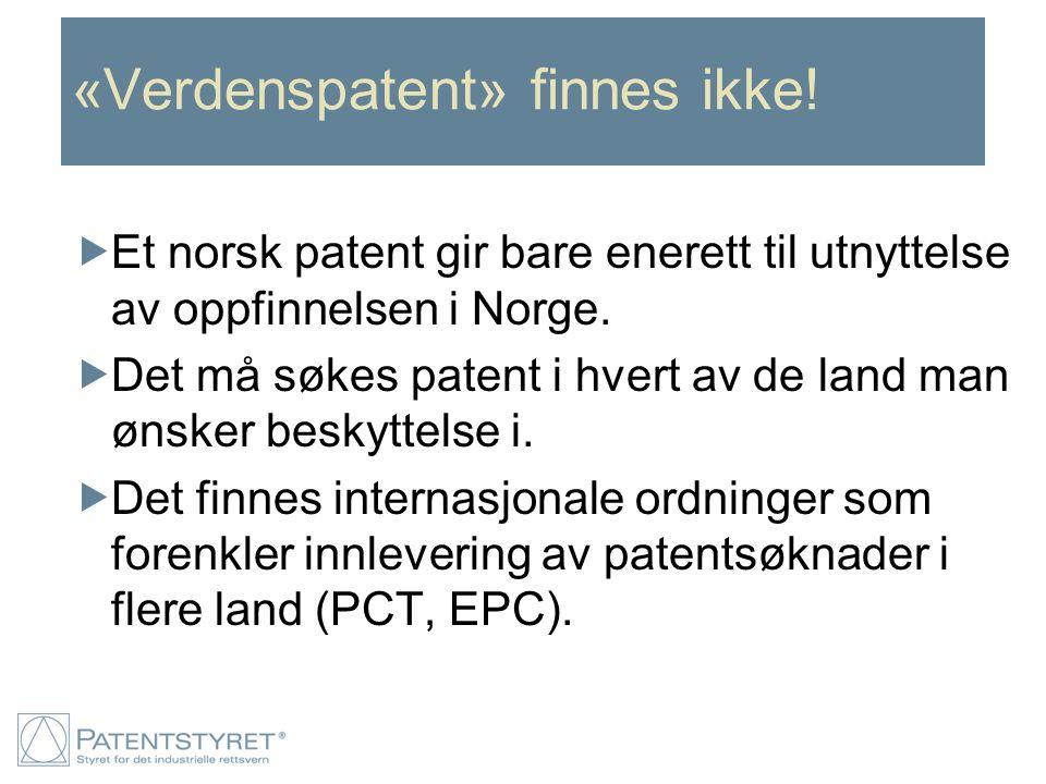 «Verdenspatent» finnes ikke!  Et norsk patent gir bare enerett til utnyttelse av oppfinnelsen i Norge.  Det må søkes patent i hvert av de land man ø