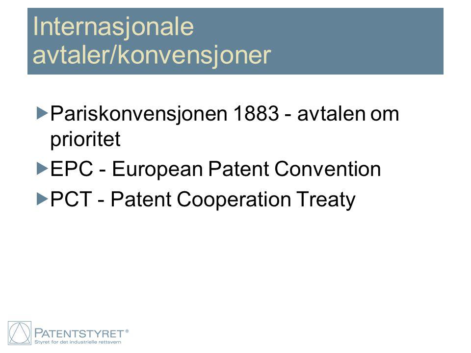 Internasjonale avtaler/konvensjoner  Pariskonvensjonen 1883 - avtalen om prioritet  EPC - European Patent Convention  PCT - Patent Cooperation Trea