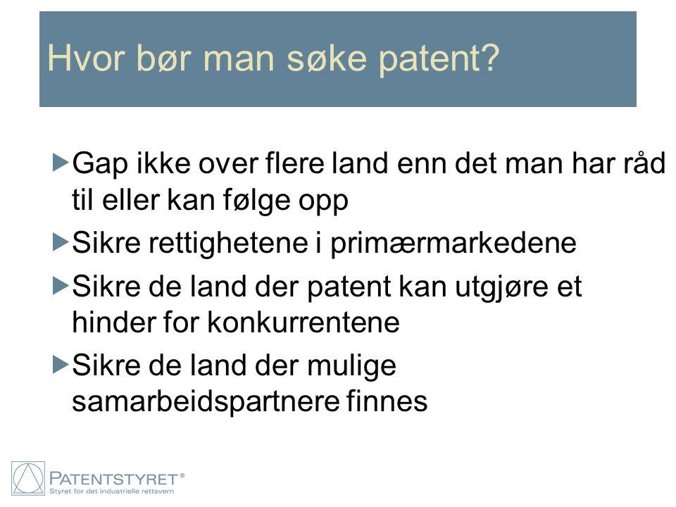Hvor bør man søke patent?  Gap ikke over flere land enn det man har råd til eller kan følge opp  Sikre rettighetene i primærmarkedene  Sikre de lan
