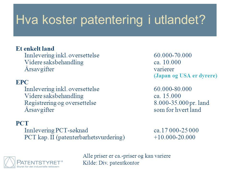 Hva koster patentering i utlandet? Et enkelt land Innlevering inkl. oversettelse60.000-70.000 Videre saksbehandlingca. 10.000 Årsavgiftervarierer (Jap