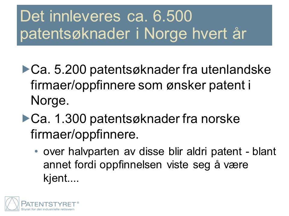 Det innleveres ca. 6.500 patentsøknader i Norge hvert år  Ca. 5.200 patentsøknader fra utenlandske firmaer/oppfinnere som ønsker patent i Norge.  Ca