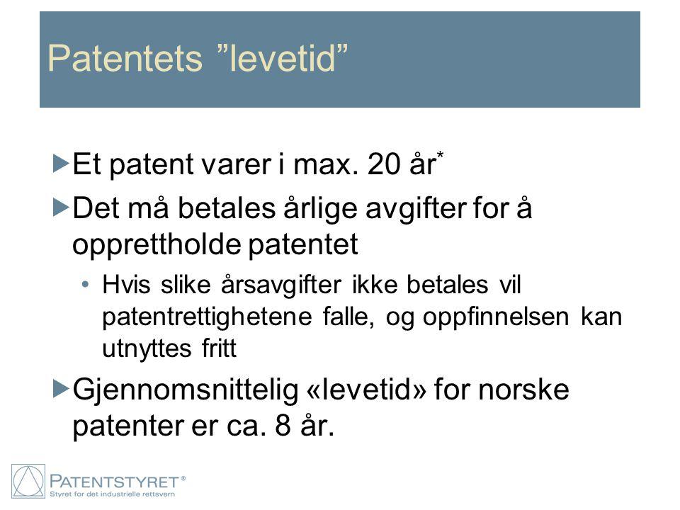 """Patentets """"levetid""""  Et patent varer i max. 20 år *  Det må betales årlige avgifter for å opprettholde patentet Hvis slike årsavgifter ikke betales"""