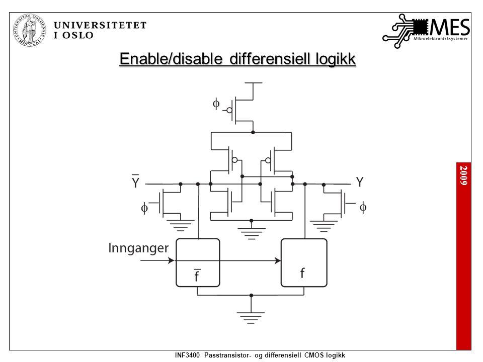2009 INF3400 Passtransistor- og differensiell CMOS logikk Enable/disable differensiell logikk