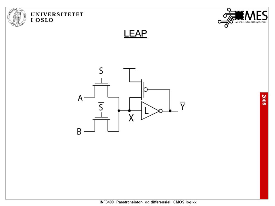 2009 INF3400 Passtransistor- og differensiell CMOS logikk Precharge: Evaluate: