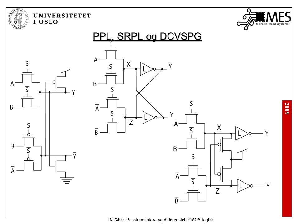 2009 INF3400 Passtransistor- og differensiell CMOS logikk Differensielle kretser Differensiell split-level:
