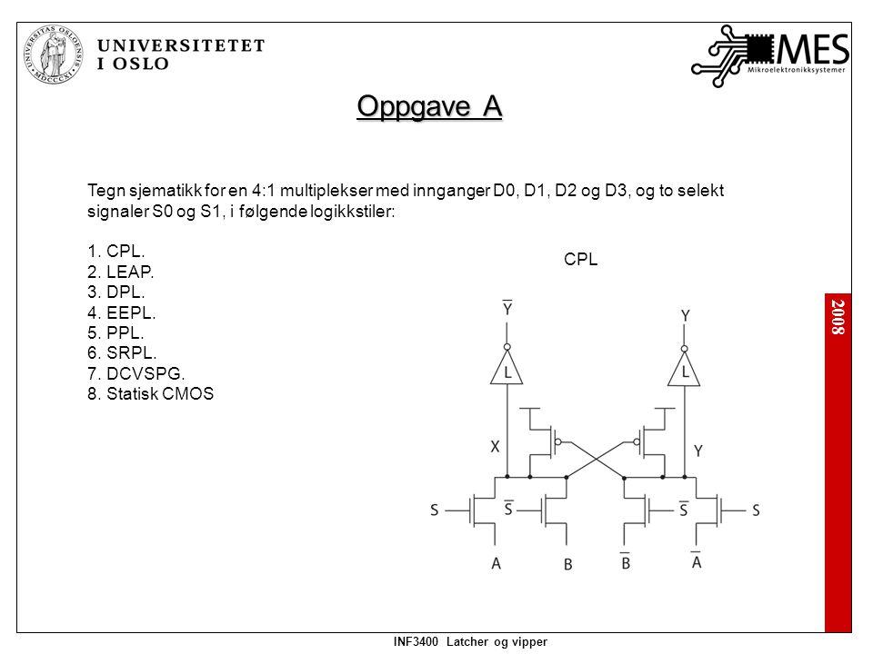 2008 INF3400 Latcher og vipper Oppgave A Tegn sjematikk for en 4:1 multiplekser med innganger D0, D1, D2 og D3, og to selekt signaler S0 og S1, i følgende logikkstiler: 1.