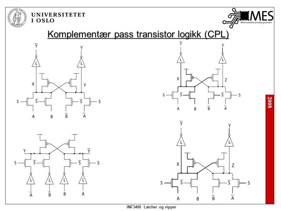 2008 INF3400 Latcher og vipper Komplementær pass transistor logikk (CPL)