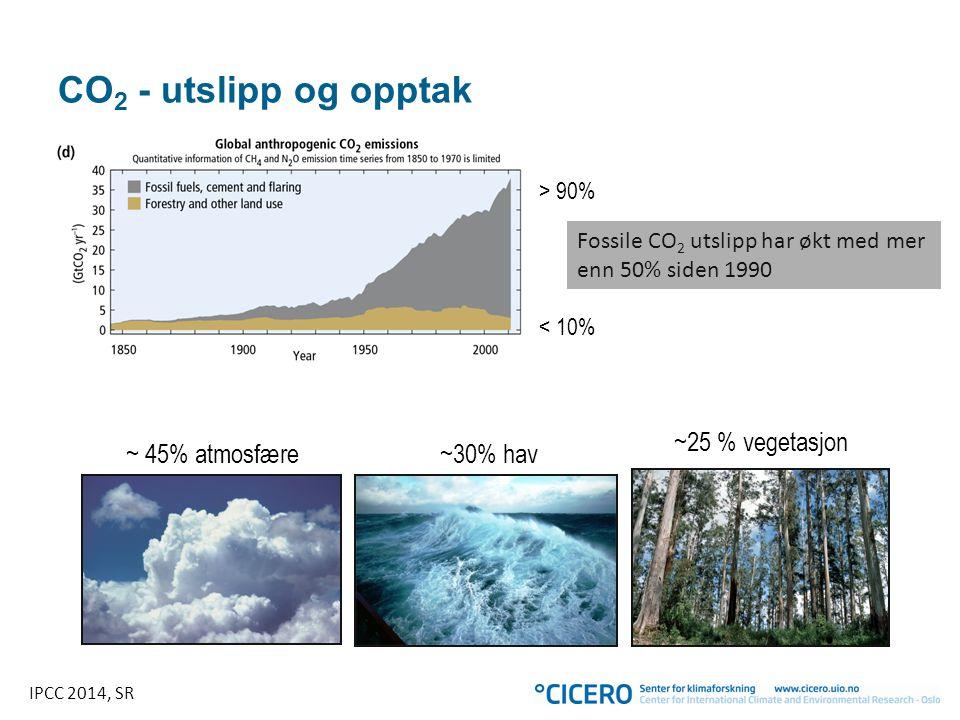 CO 2 - utslipp og opptak Fossile CO 2 utslipp har økt med mer enn 50% siden 1990 < 10% ~25 % vegetasjon ~ 45% atmosfære~30% hav > 90% IPCC 2014, SR
