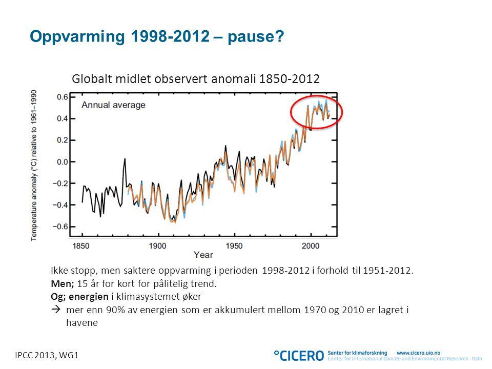 Globalt midlet observert anomali 1850-2012 IPCC 2013, WG1 Oppvarming 1998-2012 – pause? Ikke stopp, men saktere oppvarming i perioden 1998-2012 i forh