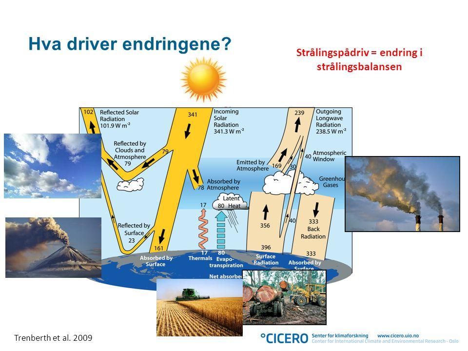 Hva driver endringene? Strålingspådriv = endring i strålingsbalansen Trenberth et al. 2009