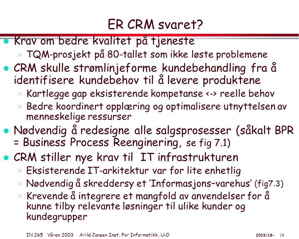 IN 265 Våren 2003 Arild Jansen Inst. For Informatikk, UiO 2003/18- 14 ER CRM svaret.