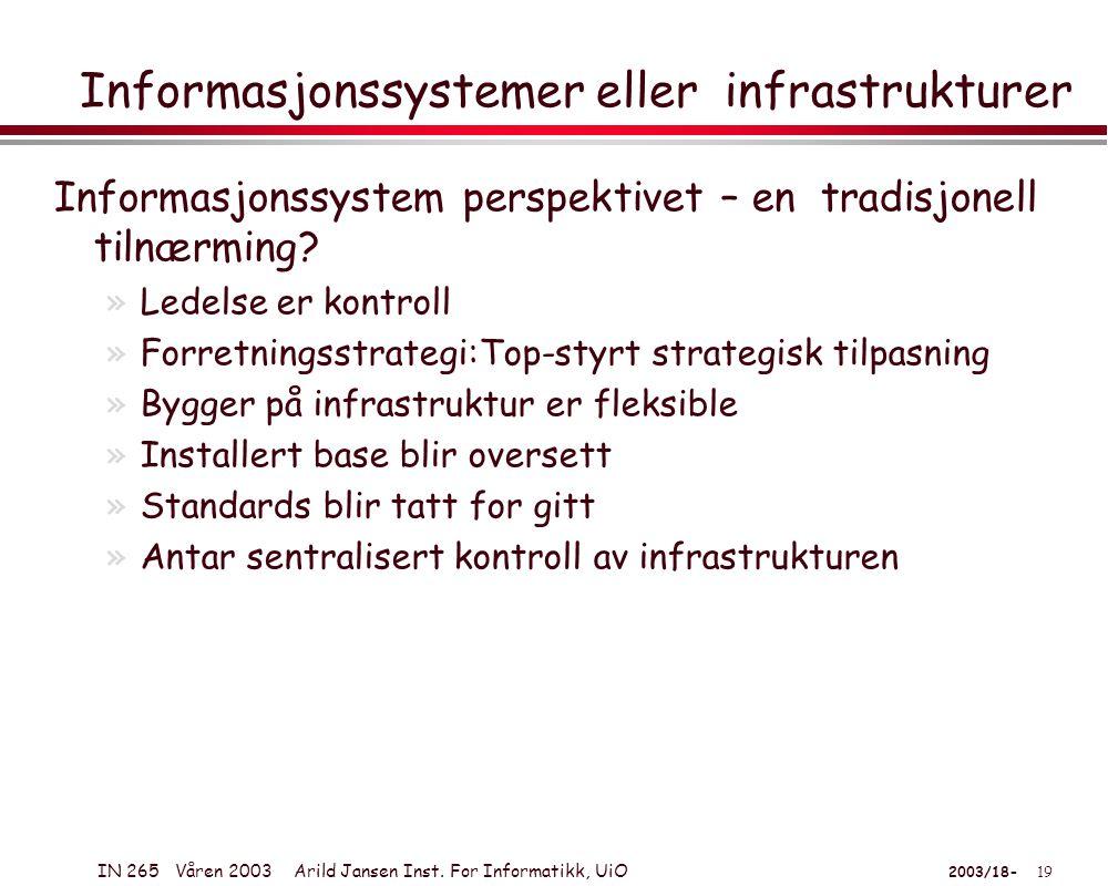 IN 265 Våren 2003 Arild Jansen Inst.