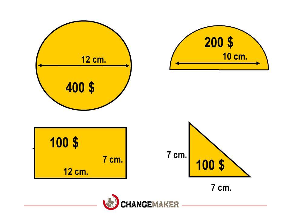 12 cm. 7 cm. 400 $ 200 $ 100 $ 10 cm.