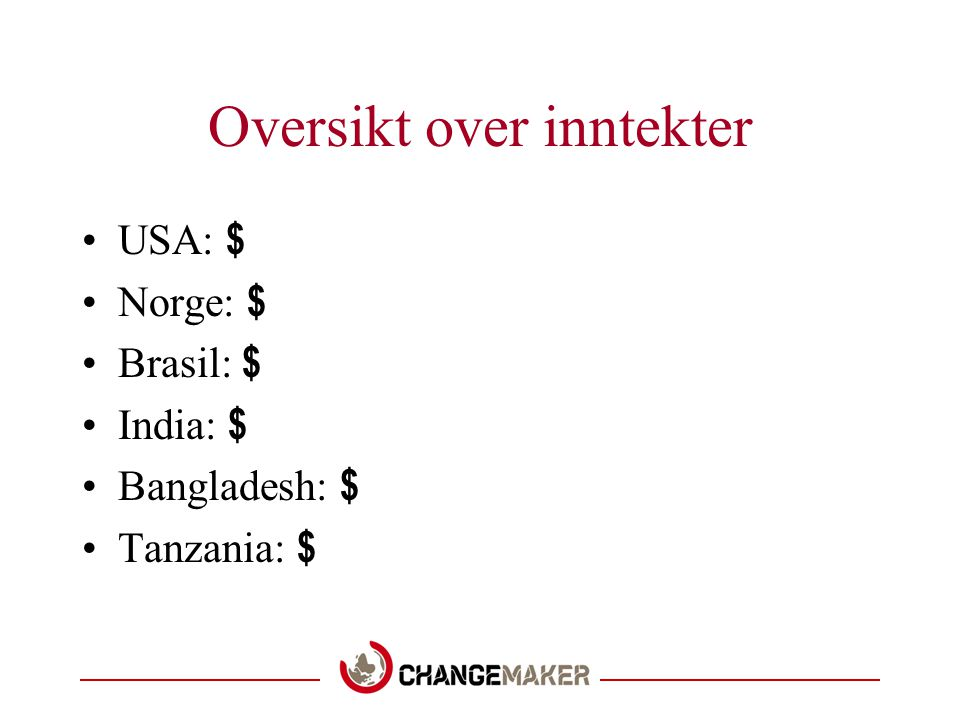 Oversikt over inntekter USA: $ Norge: $ Brasil: $ India: $ Bangladesh: $ Tanzania: $