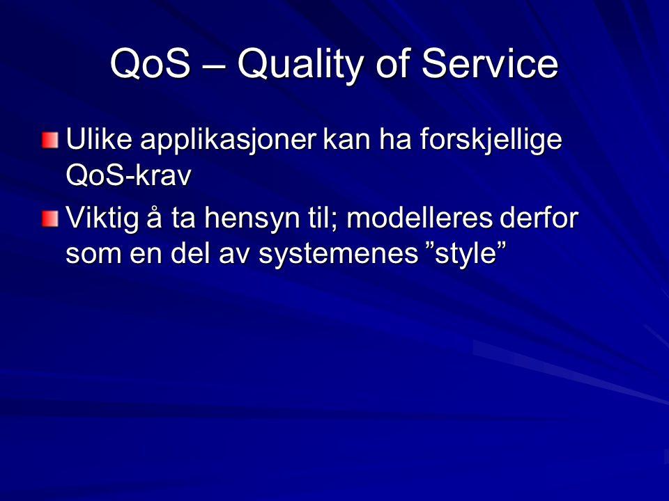 """QoS – Quality of Service Ulike applikasjoner kan ha forskjellige QoS-krav Viktig å ta hensyn til; modelleres derfor som en del av systemenes """"style"""""""