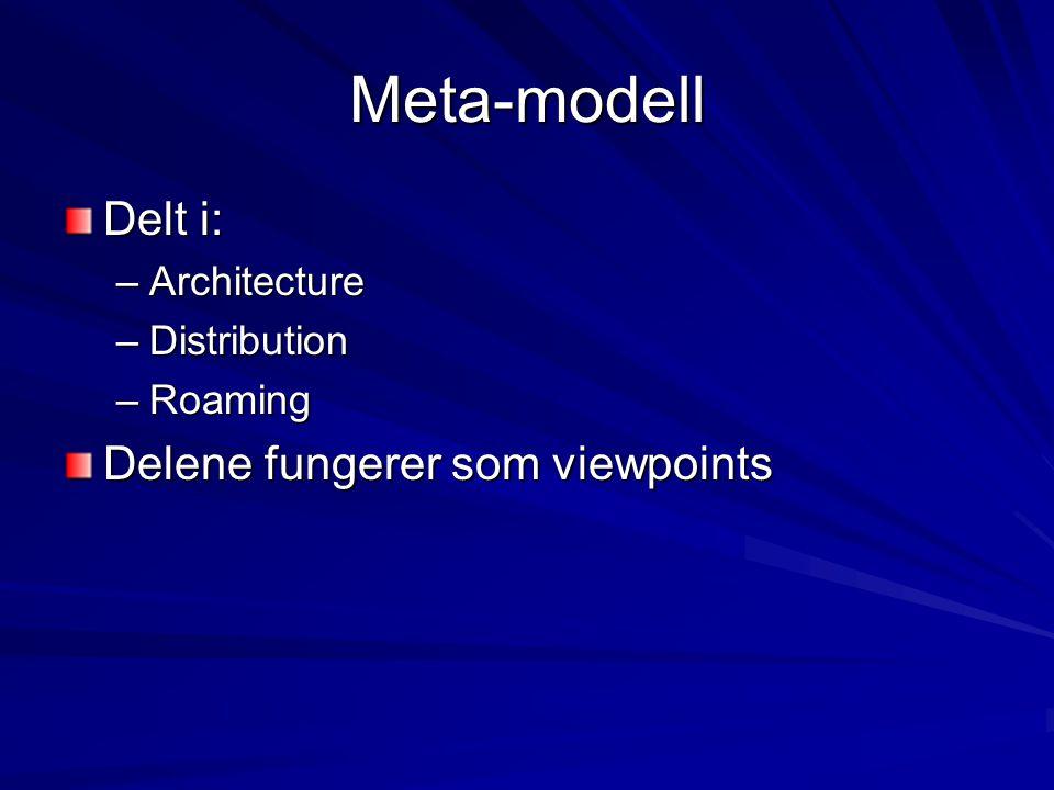 Pakker (packages) Architecture package –Definerer et arkitekturelt view som har definert en arkitekturell modell og en individuell konfigurasjon Connectivity package –Distributed view –Konsepter: Node, Bridge, Connection Roaming package –Lokasjon og mobilitet til noder
