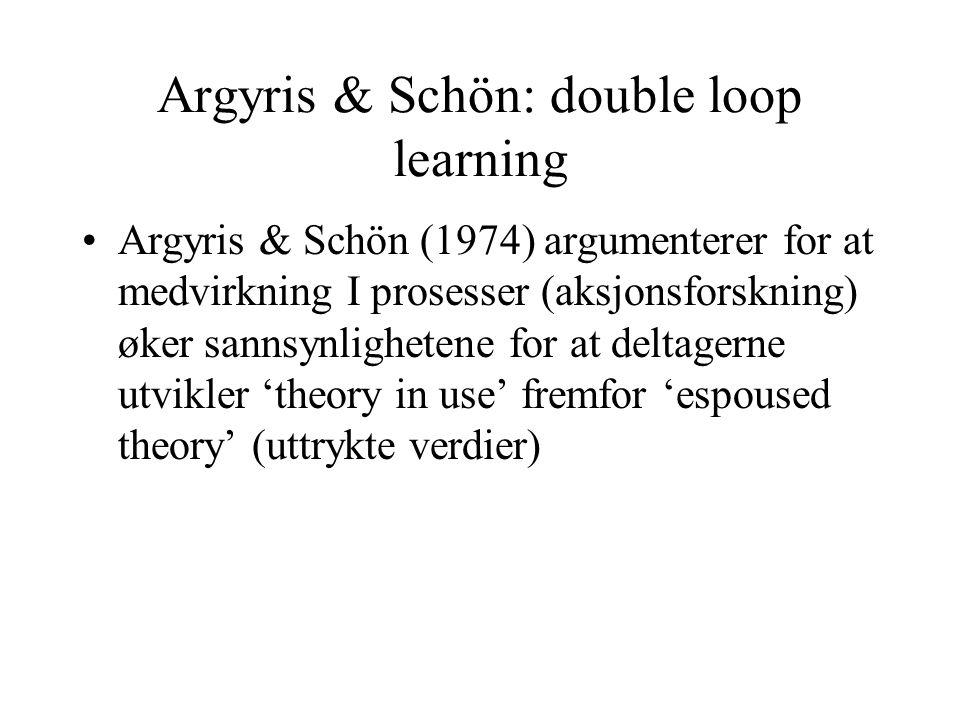 Argyris & Schön: double loop learning Argyris & Schön (1974) argumenterer for at medvirkning I prosesser (aksjonsforskning) øker sannsynlighetene for