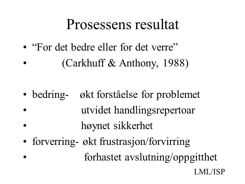 Prosessens resultat For det bedre eller for det verre (Carkhuff & Anthony, 1988) bedring- økt forståelse for problemet utvidet handlingsrepertoar høynet sikkerhet forverring- økt frustrasjon/forvirring forhastet avslutning/oppgitthet LML/ISP