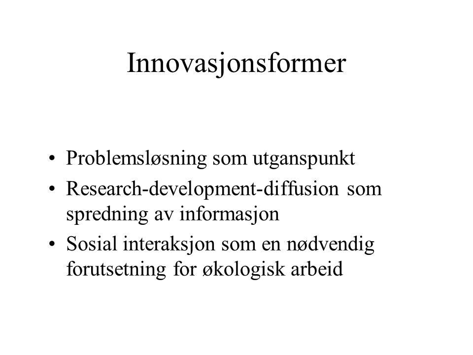 Innovasjonsformer Problemsløsning som utganspunkt Research-development-diffusion som spredning av informasjon Sosial interaksjon som en nødvendig forutsetning for økologisk arbeid