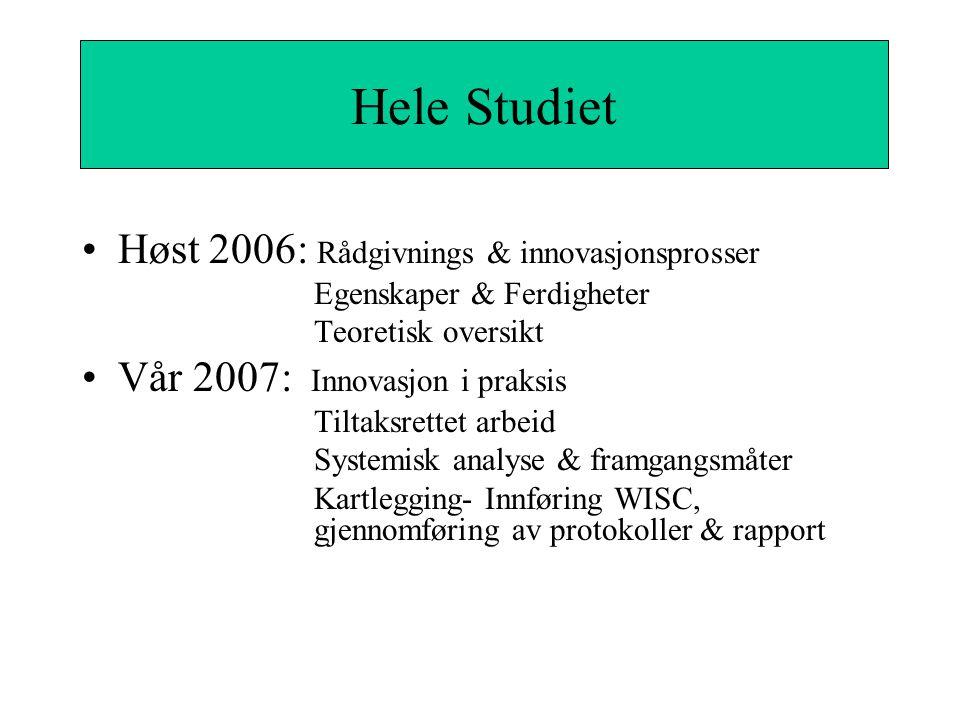 Hele Studiet Høst 2006: Rådgivnings & innovasjonsprosser Egenskaper & Ferdigheter Teoretisk oversikt Vår 2007: Innovasjon i praksis Tiltaksrettet arbeid Systemisk analyse & framgangsmåter Kartlegging- Innføring WISC, gjennomføring av protokoller & rapport Hele Studiet