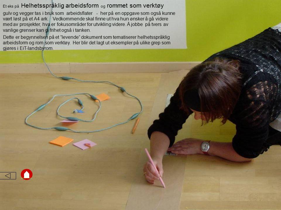 Et eks på Helhetsspråklig arbeidsform og rommet som verktøy gulv og vegger tas i bruk som arbeidsflater - her på en oppgave som også kunne vært løst på et A4 ark.