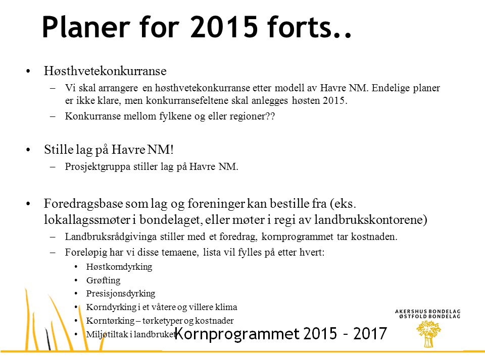 Planer for 2015 forts..