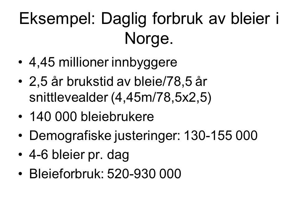 Eksempel: Daglig forbruk av bleier i Norge.