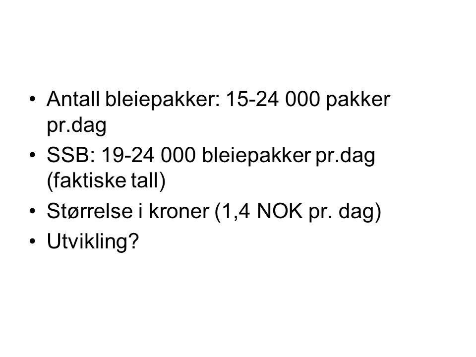 Antall bleiepakker: 15-24 000 pakker pr.dag SSB: 19-24 000 bleiepakker pr.dag (faktiske tall) Størrelse i kroner (1,4 NOK pr.