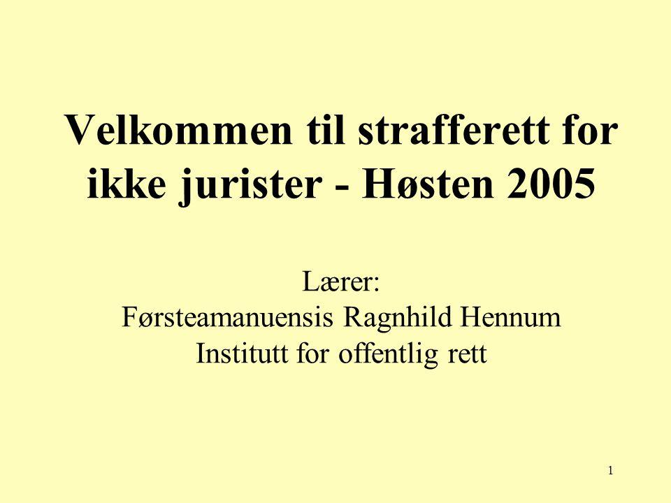 1 Velkommen til strafferett for ikke jurister - Høsten 2005 Lærer: Førsteamanuensis Ragnhild Hennum Institutt for offentlig rett