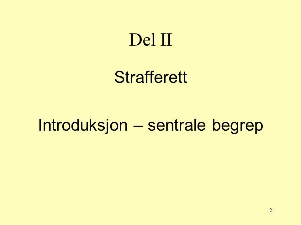 21 Del II Strafferett Introduksjon – sentrale begrep
