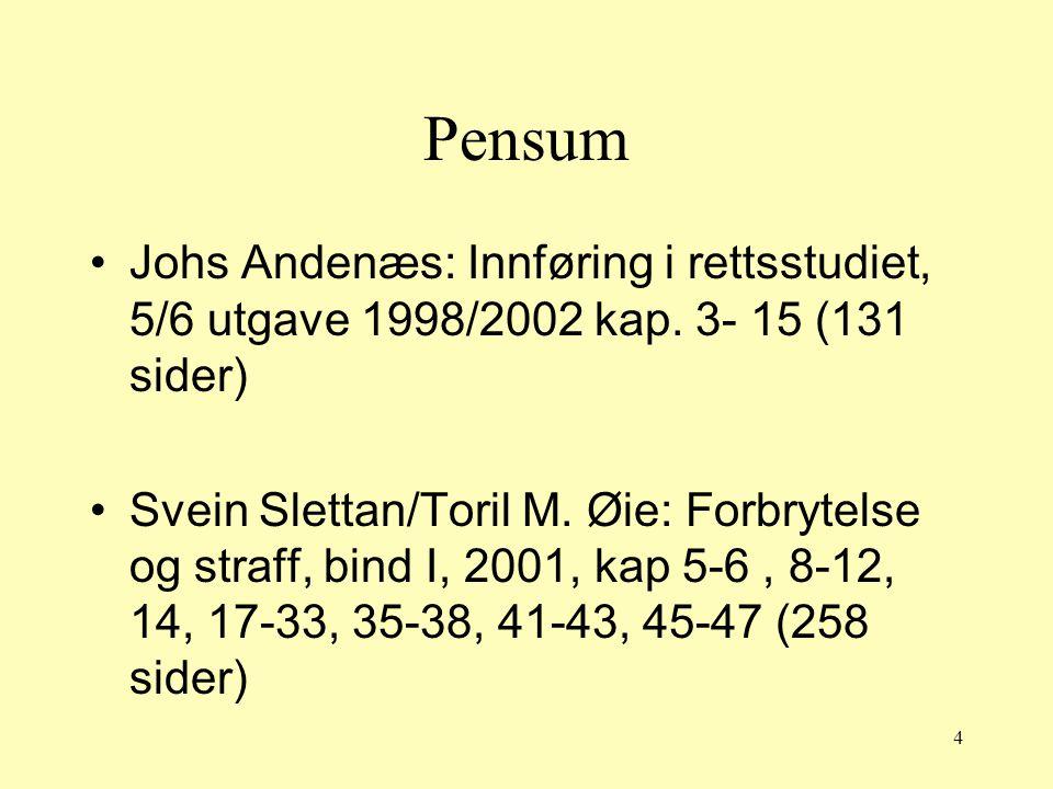 4 Pensum Johs Andenæs: Innføring i rettsstudiet, 5/6 utgave 1998/2002 kap. 3- 15 (131 sider) Svein Slettan/Toril M. Øie: Forbrytelse og straff, bind I