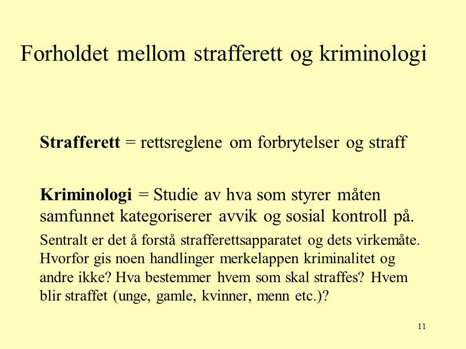 11 Forholdet mellom strafferett og kriminologi Strafferett = rettsreglene om forbrytelser og straff Kriminologi = Studie av hva som styrer måten samfu
