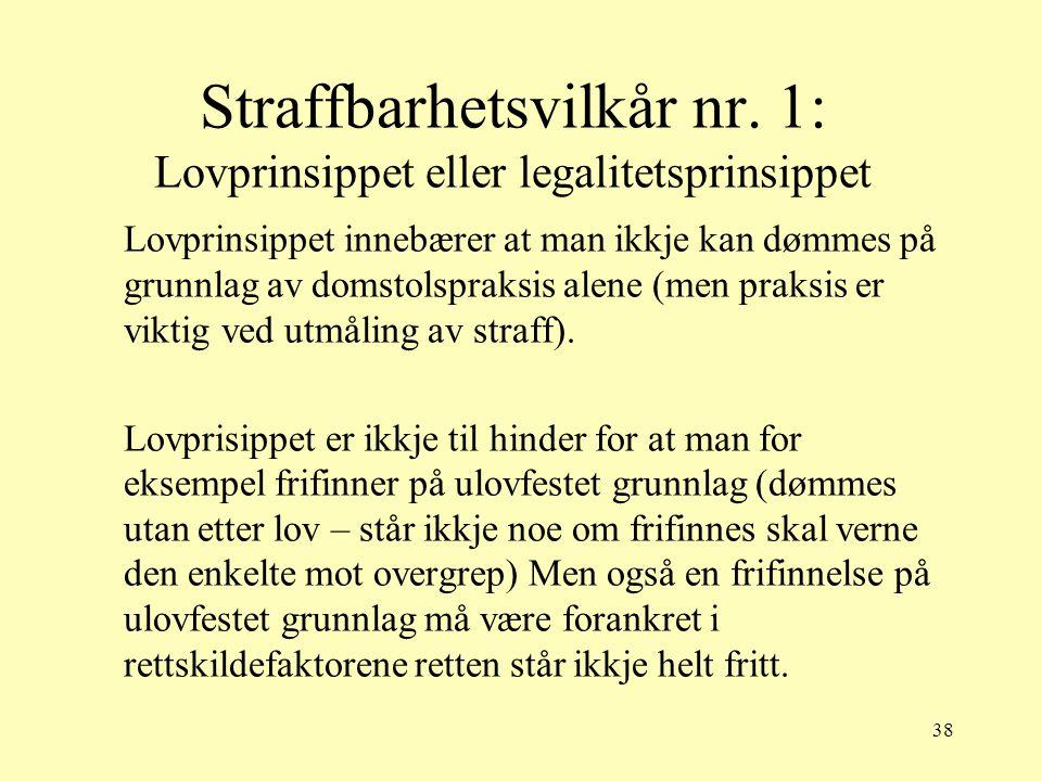 38 Straffbarhetsvilkår nr. 1: Lovprinsippet eller legalitetsprinsippet Lovprinsippet innebærer at man ikkje kan dømmes på grunnlag av domstolspraksis
