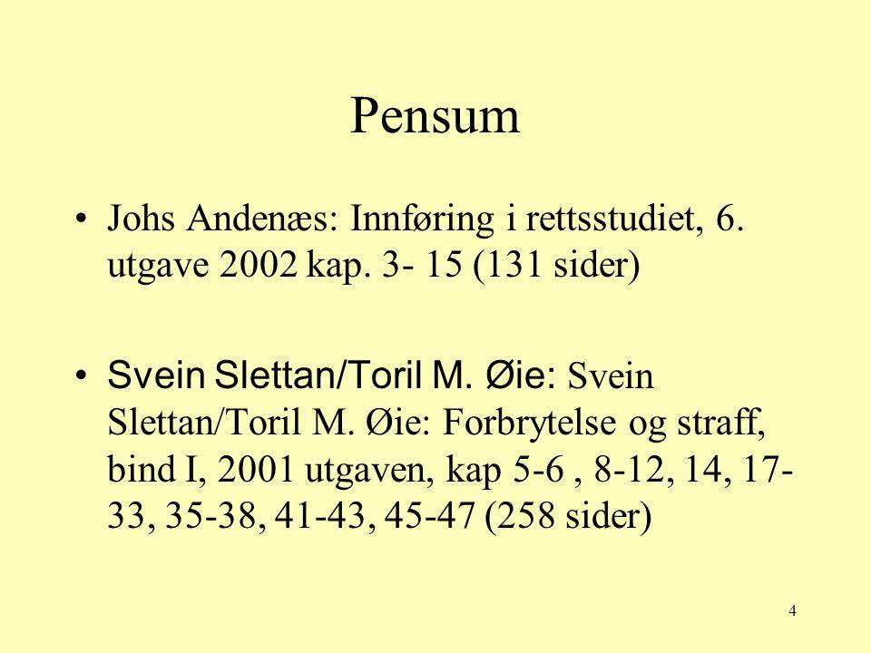 4 Pensum Johs Andenæs: Innføring i rettsstudiet, 6. utgave 2002 kap. 3- 15 (131 sider) Svein Slettan/Toril M. Øie: Svein Slettan/Toril M. Øie: Forbryt