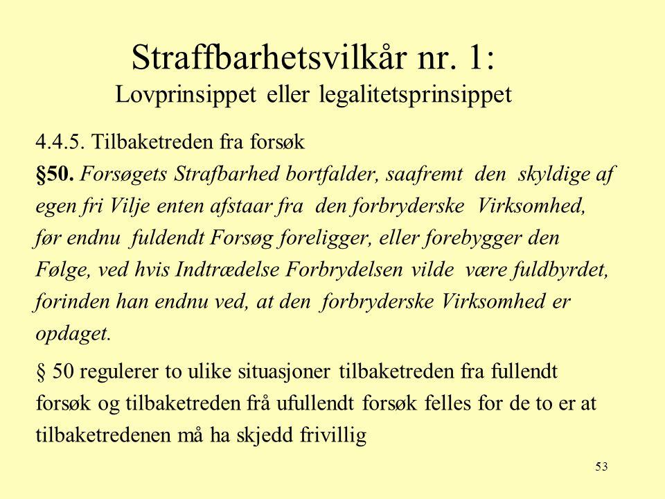 53 Straffbarhetsvilkår nr. 1: Lovprinsippet eller legalitetsprinsippet 4.4.5. Tilbaketreden fra forsøk §50. Forsøgets Strafbarhed bortfalder, saafremt