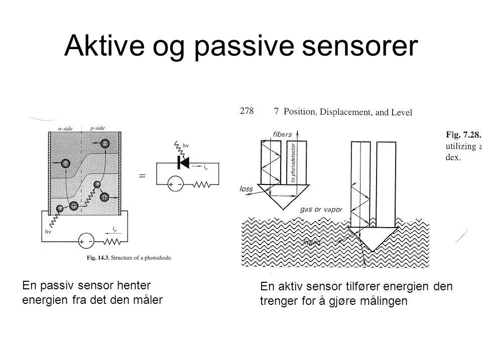 Aktive og passive sensorer En passiv sensor henter energien fra det den måler En aktiv sensor tilfører energien den trenger for å gjøre målingen