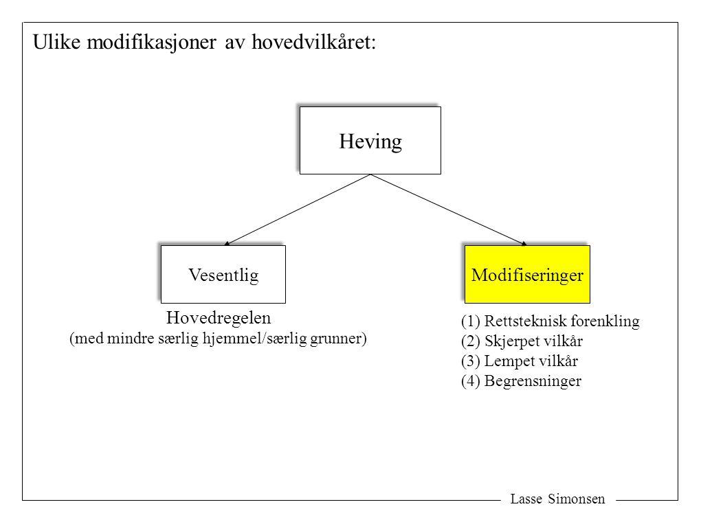 Lasse Simonsen Heving Vesentlig Modifiseringer Ulike modifikasjoner av hovedvilkåret: Hovedregelen (med mindre særlig hjemmel/særlig grunner) (1) Rettsteknisk forenkling (2) Skjerpet vilkår (3) Lempet vilkår (4) Begrensninger