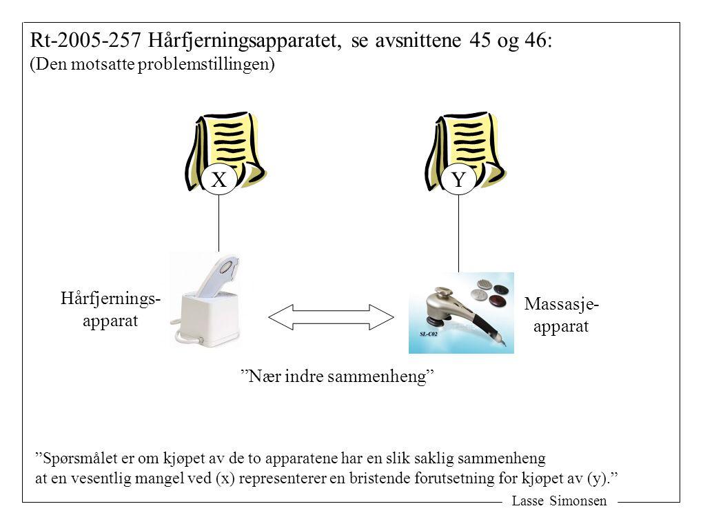 Lasse Simonsen Rt-2005-257 Hårfjerningsapparatet, se avsnittene 45 og 46: (Den motsatte problemstillingen) XY Hårfjernings- apparat Massasje- apparat Nær indre sammenheng Spørsmålet er om kjøpet av de to apparatene har en slik saklig sammenheng at en vesentlig mangel ved (x) representerer en bristende forutsetning for kjøpet av (y).