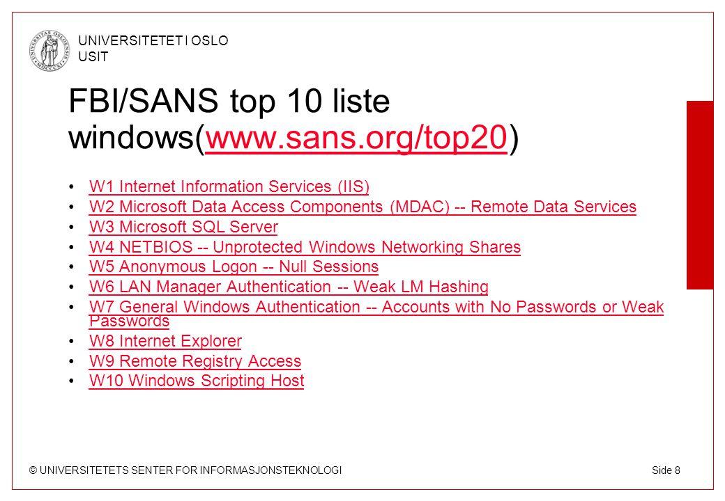 © UNIVERSITETETS SENTER FOR INFORMASJONSTEKNOLOGI UNIVERSITETET I OSLO USIT Side 9 Hva installeres på en hacket maskin.