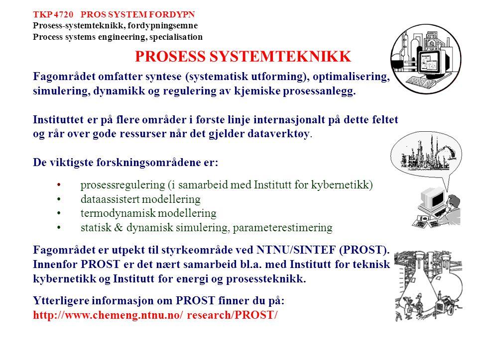 Faggruppe PROSESS SYSTEMTEKNIKK Førsteamanuensis Tore Haug Warberg Professor Terje Hertzberg Professor Heintz Preisig Professor Sigurd Skogestad
