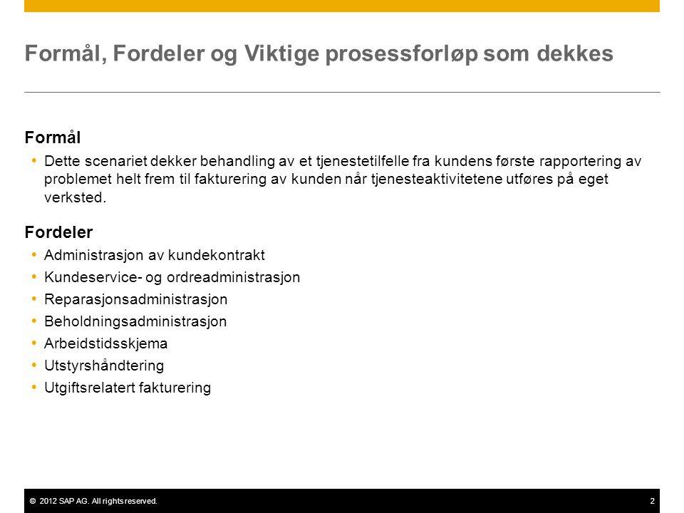 ©2012 SAP AG. All rights reserved.2 Formål, Fordeler og Viktige prosessforløp som dekkes Formål  Dette scenariet dekker behandling av et tjenestetilf