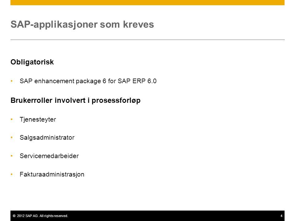 ©2012 SAP AG. All rights reserved.4 SAP-applikasjoner som kreves Obligatorisk SAP enhancement package 6 for SAP ERP 6.0 Brukerroller involvert i prose