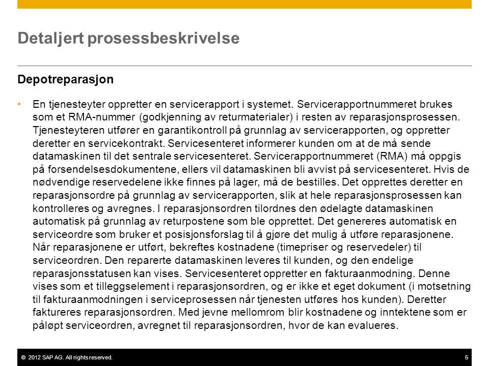 ©2012 SAP AG. All rights reserved.5 Detaljert prosessbeskrivelse Depotreparasjon En tjenesteyter oppretter en servicerapport i systemet. Servicerappor