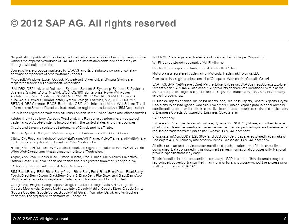 ©2012 SAP AG. All rights reserved.9 No part of this publication may be reproduced or transmitted in any form or for any purpose without the express pe