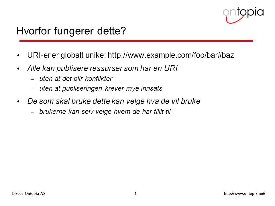 http://www.ontopia.net/© 2003 Ontopia AS1 Hvorfor fungerer dette? URI-er er globalt unike: http://www.example.com/foo/bar#baz Alle kan publisere ressu