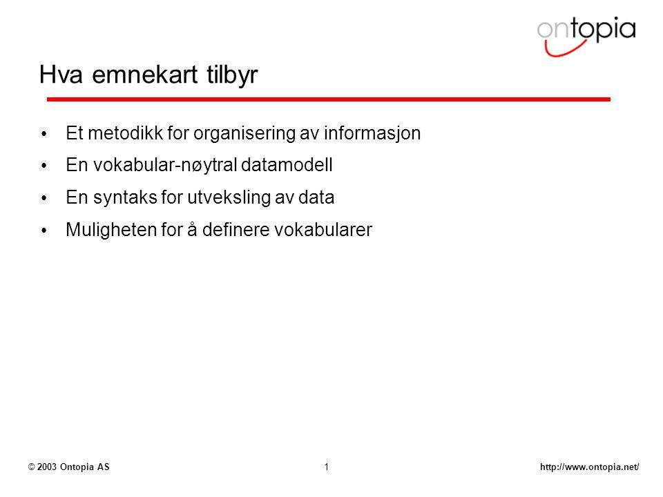 http://www.ontopia.net/© 2003 Ontopia AS1 Hva emnekart tilbyr Et metodikk for organisering av informasjon En vokabular-nøytral datamodell En syntaks f