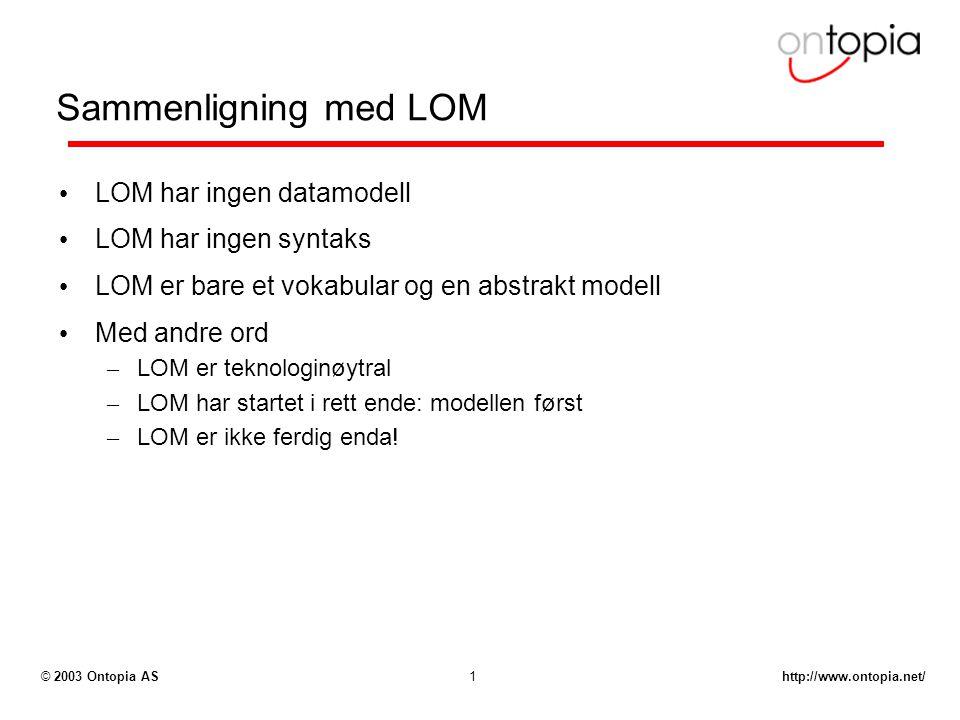 http://www.ontopia.net/© 2003 Ontopia AS1 Sammenligning med LOM LOM har ingen datamodell LOM har ingen syntaks LOM er bare et vokabular og en abstrakt